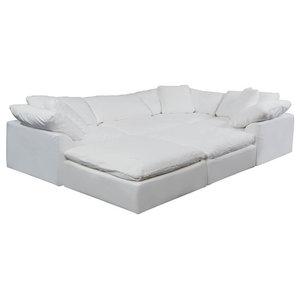 6-Pc Slipcovered Modular Pitt Sectional Sofa Performance Fabric White