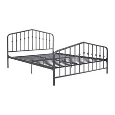 Novogratz Bushwick Metal Bed, Gunmetal Gray, Queen