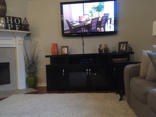 how to decorate tv stand farmhouse how should decorate tv stand pls post pic suggestions or give me some options do need less stuff it just looks so busy decorating tv stand