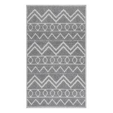 "nuLOOM Lothber Tribal Cotton Bath Mat, Gray, 1'5""x2'"