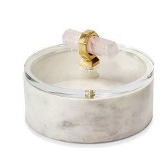 Vivien Boxes, White, Clear, Shiny Brass, Blush