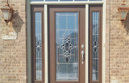 Decorative Glass Front Door with Sidelites, Hand Beveled Glass by ProVia