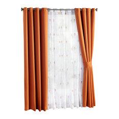 """Fleur De Lis Blackout Curtains 6-Piece Set, Burnt Orange, 54""""x4"""""""