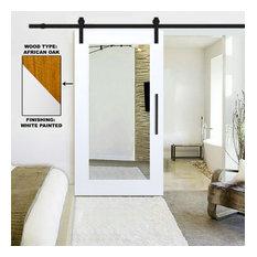 "Mirrored White Painted Oak Hardwood Sliding Barn Door with Mirror Insert, 36""x81"