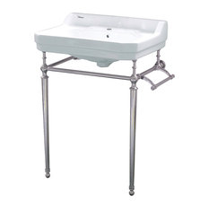 Whitehaus WHV024-L33-1H-PN Single Hole Console Sink w/ Polished Nickel Leg