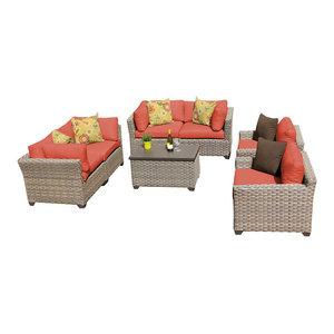 Monterey 7 Piece Outdoor Wicker Patio Furniture Set, Tangerine By  TKClassics Good Stores For