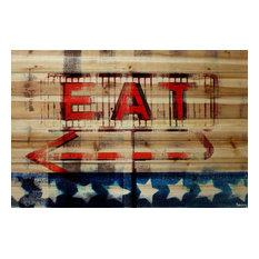 """Eat"" Print on Wood by Parvez Taj, 100x70 cm"