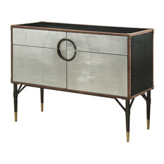 ACME Rosy Leather Top Console Table In Black And Silver