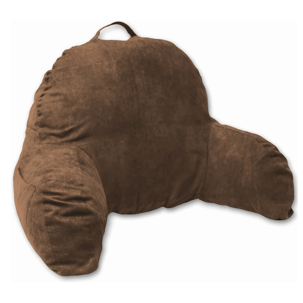 Brown Microsuede Bed Rest Reading Pillow & Support Bed Backrest Pillow With Arms