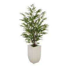 "Artificial 52"" Bamboo, Cream Tapered Zinc Vase, Black Stem"