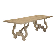Nantes French Country Carved Reclaimed Elm Wood Dining Table   Dining Tables