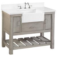 "Charlotte Bathroom Vanity, Weathered Gray, 42"", Quartz Top, Single Sink"