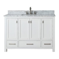 Avanity Modero 49-inch Vanity White Finish Carrera White Marble Top
