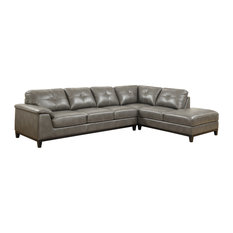 Emerald Home Marquis 2-Piece Sectional With 6 Seats, Gray