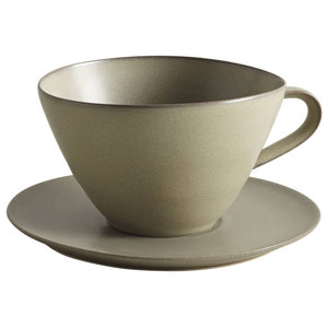 Handmade Coffee Cup and Saucer by Stuart Carey, Charcoal