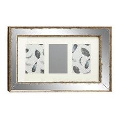 3 Large Rectangular Silver Vintage Mirror Picture Frames