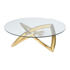 41.3-inch W Tempered Glass Coffee Table Brushed Gold Stainless Steel Base Modern by Noble Origins Home