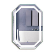 "LED Lighted Octagon Wall Mount Bathroom Mirror With Defogger, 20""x30"""