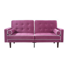 Divano Roma Furniture Mid Century Modern Two Tone Splitback Tufted Velvet Futon Purple