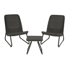 Keter Rio 3-Piece All Weather Outdoor Patio Furniture Set, Grey