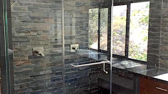 Black Stone and Dark Cabinets - Bathroom Remodeling