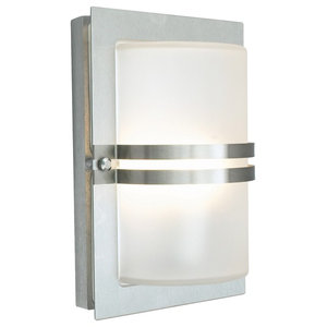 Outdoor E27 Wall Light, Frosted Glass, Stainless Steel