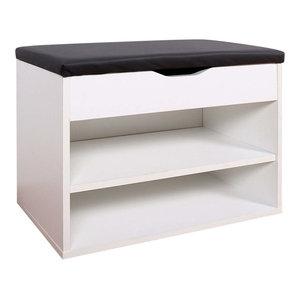 Modern Stylish Shoe Rack, White Finished Wood With Padded Cushioned Seat