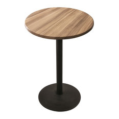 """Od214, 30"""" Black Wrinkle Indoor/Outdoor Table With Natural Top"""