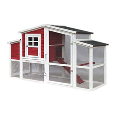 Multi-Level Barn Style Fir Wood Chicken Coop/Hutch, 2 Nesting Areas, Red, 78""