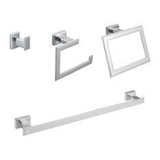 Carraway 4-Piece Bathroom Hardware Set With Towel Bar, Polished Chrome, 18""