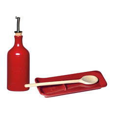 Emile Henry Oil Cruet & Spoon Rest Set with Wooden Spoon, Burgundy