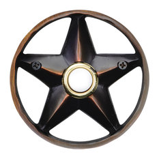 """Brass Lone Star 3 1/4"""" Doorbell in 4 Finishes, Oil Rubbed Bronze"""