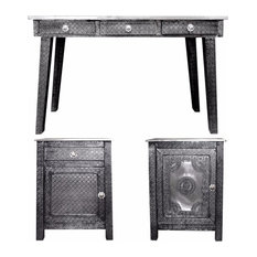 3-Piece Traditional Style Wooden Console Table Set, Gray