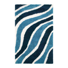 Superior Waverling Hand Tufted Teal Shag Area Rug