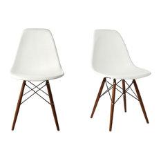 Ariel   White DSW Dining Shell Chairs, Dark Walnut Wood Eiffel Legs, Set Of