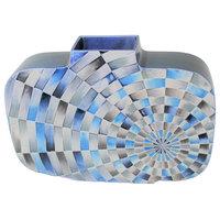 "Luxe MidCentury Modern Blue Geometric Circles Vase | 10"" Ceramic White Radial"