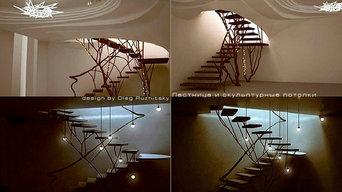 Лестница и скульптурные потолки