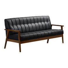 Aarhus Sofa, Black Faux Leather