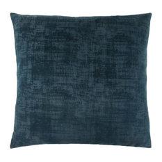 """Pillow, 18""""x18"""", Dark Blue Brushed Velvet"""