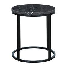 Palliser Furniture Julien Round End Table Black Base Black Marble Top
