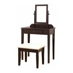 Vanity Set, Solid Wood, Mirror Drawer and Cushioned Bench, Espresso Finish