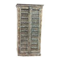 Mogul Interior - Consigned Antique Armoire Distressed Blue Floral Hand Carved Wardrobe , Cupboard - Armoires and Wardrobes