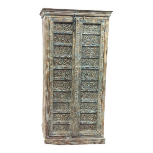 Mogul Interior - Consigned Antique Armoire Distressed Blue Floral Hand Carved Wardrobe , Cupboard - Accent Chests And Cabinets