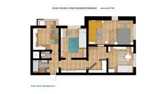 Проект декорирования трехкомнатной квартиры для семьи с двумя детьми