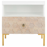 Modern Bedside Table, Drawer With Pattern, White-Gold Finish