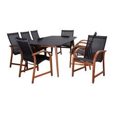 Amazonia Carolina 9-Piece Patio Dining Set, Black