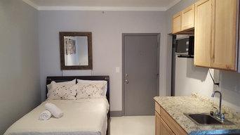 Apartment completely remodeled , floor, ceiling, walls, doors, closet, bathroom