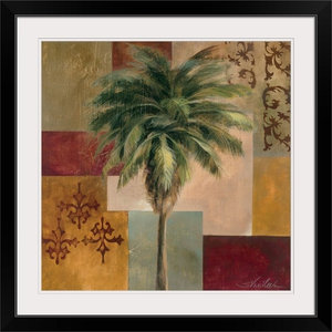 """Charleston Palm II "" Black Framed Art Print, 32""x32""x1"""