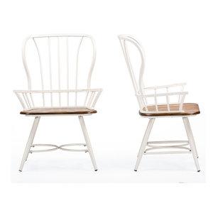 Longford Dining Arm Chairs, Set of 2, Dark Walnut/White