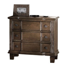 Bowery Hill 3 Drawer Nightstand In Weathered Oak